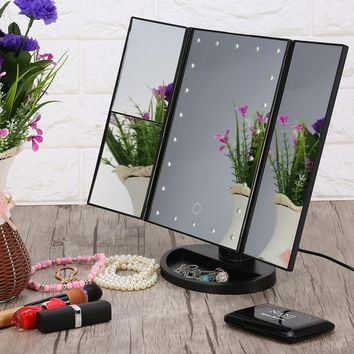 TriFold LED Touch Screen Vanity Makeup Mirror