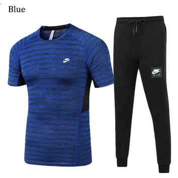 NIKE 2018 spring and summer men's outdoor sports running short-sleeved sportswear two-piece blue