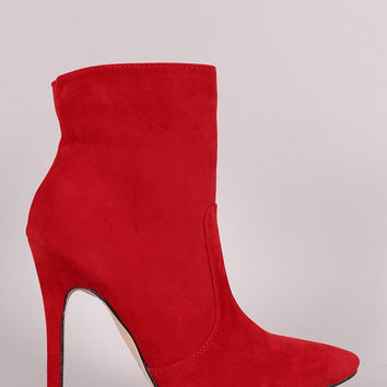 Suede Pointy Toe Stiletto Booties