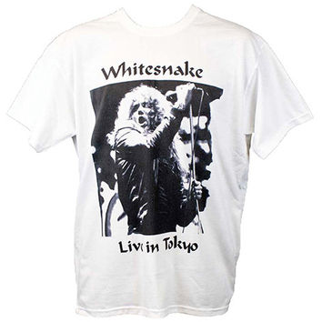 Whitesnake White T shirt 1980s Hard Guitar Rock Heavy Metal Festival Concert Graphic Tee S-XL