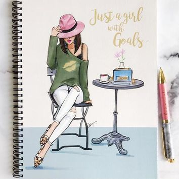 JUST A GIRL WITH GOALS NOTEBOOK (BRUNETTE)