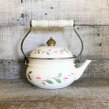 Teapot Enamel Teapot Mid Century Metal Teapot Enamel Tea Kettle Floral Teapot Mid Century Kitchen Decor Farmhouse Chic