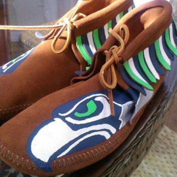 Custom Seattle Seahawks Adult Moccasins