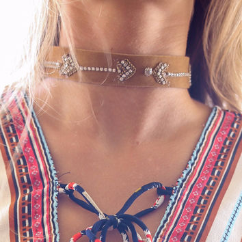 Free To Be You And Me Gold & Brown Arrow Bead Choker