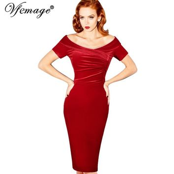 Vfemage Womens Summer Elegant Vintage Pinup Retro Rockabilly Sexy Off Shoulder Ruched Party Bodycon Sheath Wiggle Dress 500