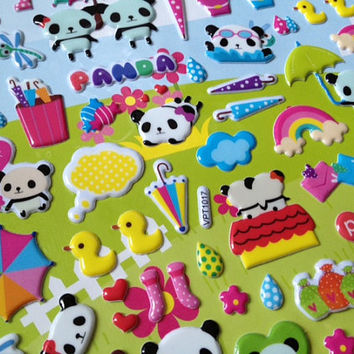 Puffy animal panda party sticker kawaii bear wildlife National treasure doll fat cute animal playground happy panda baby kids panda world
