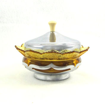 Vintage Farber Brothers Chrome and Fenton Glass Relish or Candy Divided Dish with Lid