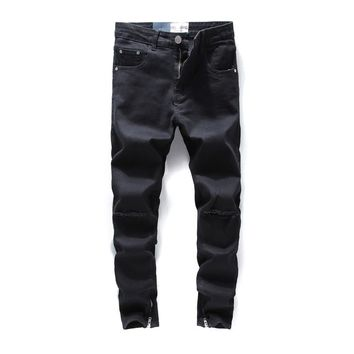 Black Color Ankle Zipper Jeans Men Skinny Fit Elastic Stretch Knee Hole Ripped Jeans For Men Streetwear  Brand Mens Jeans
