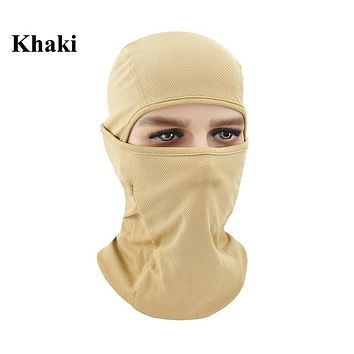 KHAKI Winter Outdoor Ski Bibs Snowboard Skiing Full Face Mask Cycling Sport Headgear Tactical Paintball Cap Hat Snowbile Balaclava