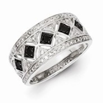 Sterling Silver Black/White Diamond Ring