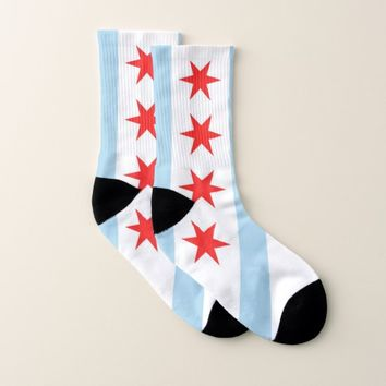 All Over Print Socks with Flag of Chicago