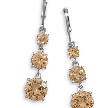 Rhodium Plated Earrings With Graduated Champagne Cubic Zirconias