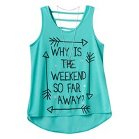 Beautees Print High-Low Necklace Tank - Girls 7