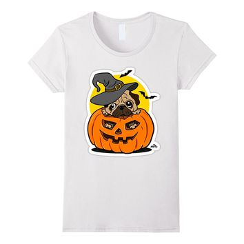 Halloween Sad Pug Funny Pumpkin And Dog Tshirt