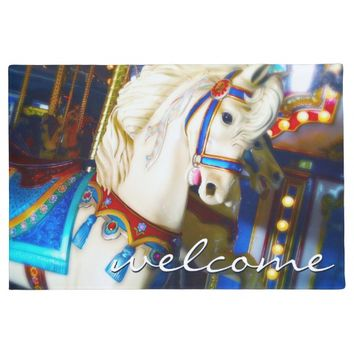 """Welcome"" colorful carousel horse photo doormat"