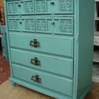 Reclaimed Vintage 60s Robin Egg Blue Painted 7 Dr Large Chest of Drawers Dresser (CALL for a SHIP Quote)