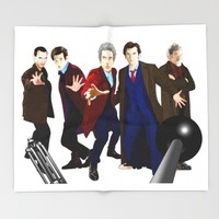 Doctor Who - The Five Doctors Throw Blanket by Chris Singley