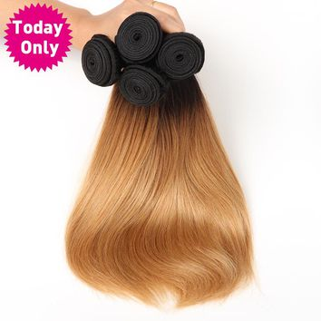 Blonde Brazilian Straight Hair Weave Bundles Ombre Human Hair Bundles Two Tone 1b 27 Non Remy Hair Can Buy 3 or 4