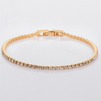 Gold Color Slim Cluster Crystals Tiny Mini Tennis Link Chain Bracelets for Women Girls Jewelry pulseira feminina Hot Gifts