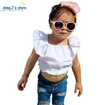 Girls Clothing Set Girls fashion Clothes Set Lovely white top Toddler Girl tops + hole Jeans Pants Girls Suit Kids Clothes