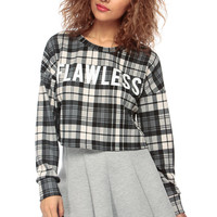 Black Flawless in Plaid Over Sized Crop Top