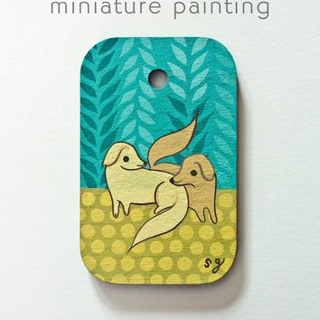 Pair of Dogs Miniature Painting by Susie Ghahremani