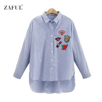 ZAFUL UK New Spring Autumn Women Blouse Flower Embroidery Long Sleeve Work Shirts Women office Tops Striped blouse for business
