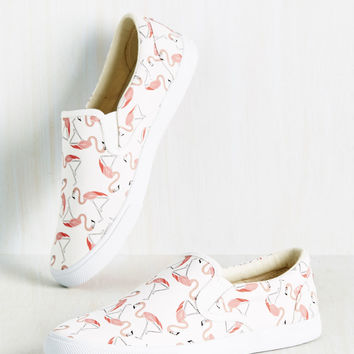 The Fast Resort Slip-on Sneaker in Flamingos | Mod Retro Vintage Flats | ModCloth.com