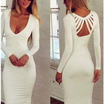 White Long Sleeves Strappy Cut-out Back Bodycon Dress