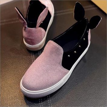 Pink Round Toe Flat Rabbit Ears Casual Ankle Sandals