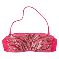Xhilaration® Junior's Sequin Bandeau Swim Top -Pink Coral