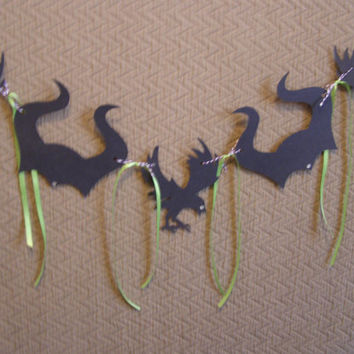 Maleficent And Crow Black Horns Birthday Party, Banner, Bunting, Flags, Garland Photo Props, Party Decor