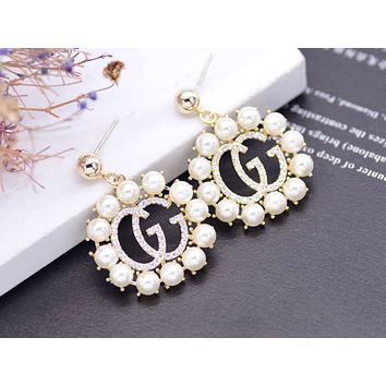 Free Shipping-GUCCI Tide brand new women's pearl double G logo earrings gold