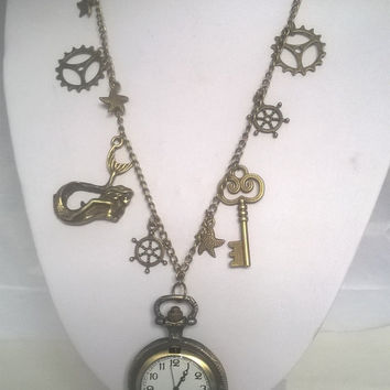 Steampunk Pocket Watch Charm Necklace, Nautical Themed Handmade Necklace