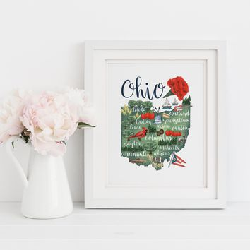 Ohio State Map Art Print