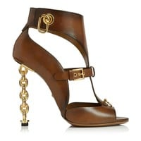 LEATHER GLADIATOR SANDAL WITH CHAIN HEEL