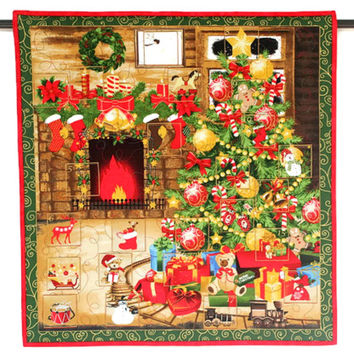 Advent Calendar, Quilted Wall Hanging, Christmas Tree, Fireplace, Calendar with Treat Pockets, Children Activity Calendar, Quiltsy Handmade
