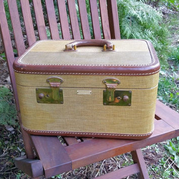 Vintage Tweed Train Case Light Weight Luggage Company New York