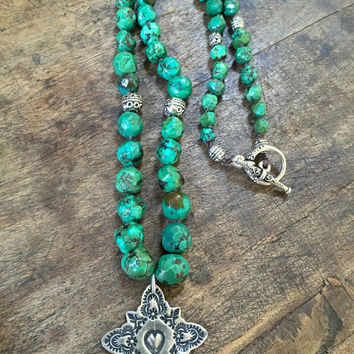 Turquoise Cross Knotted Necklace, Country Boho, Spiritual Boho Beaded Jewelry by Two Silver Sisters twosilversisters
