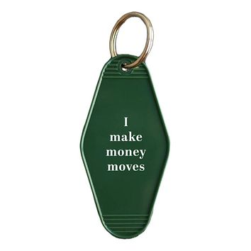 I Make Money Moves Cardi B Quote Hotel/Motel Style Keychain in Green and White