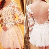 SALE/ White lace formal short mini flowing dress/ prom dress/ long sleeve dress backless dress