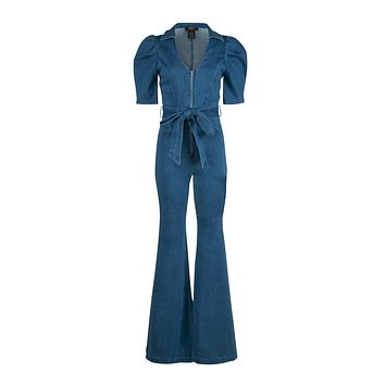Get in the Groove Flared Bell Bottom Jeans Jumpsuit with Puff Sleeves