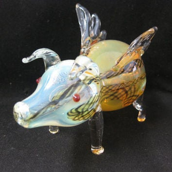 Handmade Tobacco Glass Smoking Pipe - Animal Collection - flying pig