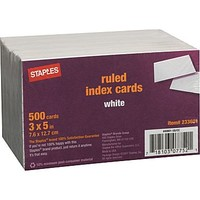 Staples® 3 x 5 Line Ruled White Index Cards, 500/Pack