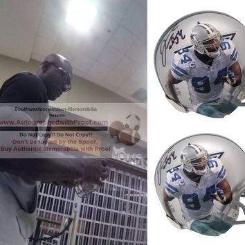 Demarcus Ware Autographed Dallas Cowboys Photo Riddell Mini Football Helmet, Proof Photo