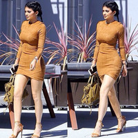 Long Sleeve KYLIE JENNER Skin Tight Dress