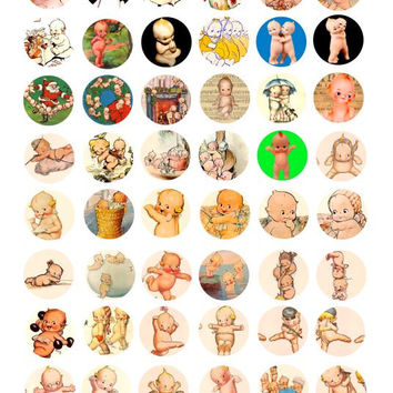 vintage kewpie doll clip art Collage sheet 1 INCH circles digital image download bottle cap pendants graphics printable