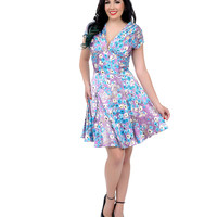 Unique Vintage Retro Style Purple Floral Sateen Olivia Fit & Flare Dress