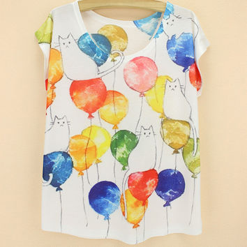 Balloon Cats Print Ladies Summer Tops Stylish Short Sleeve Round-neck T-shirts [6050333185]