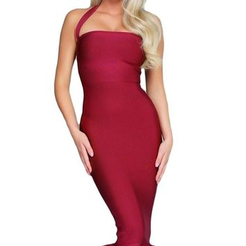 Chicloth Halter Mermaid Midi Bodycon Bandage Dress with Flare